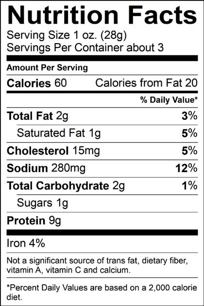 nutrition info label