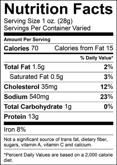 nutrition info for jerky