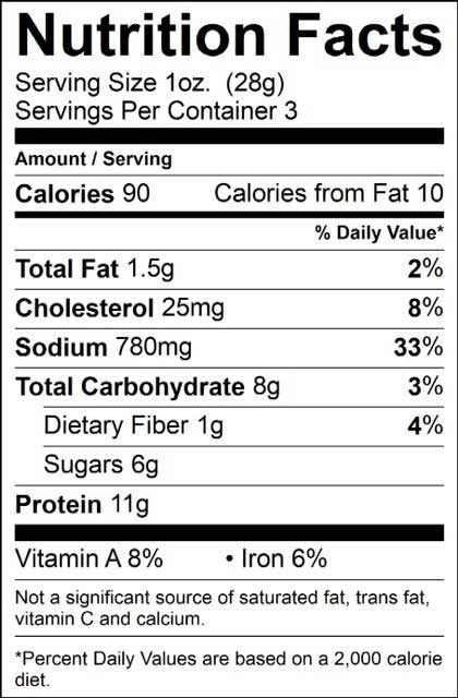 nutrition info for jerky